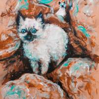 Feral Tenderness siamese kittens among the rocks Art Prints & Posters by Alexandra Cook