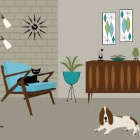 Mid Century Modern Z Chair with Basset Hound Art Prints & Posters by Donna Mibus