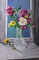 Acrylic Painting of flowers in a vase