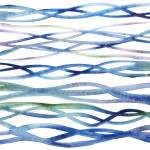 Abstract Organic Lines Sea Ocean Waves Watercolor  Prints & Posters