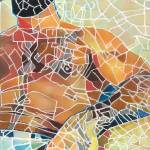 Mosaic Man Beartropolis Man Map Painting by RD Riccoboni