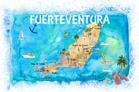 Fuerteventura Canarias Spain Illustrated Map with