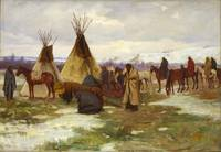 Burial Cortege of a Crow Chief  by Joseph Henry Sh