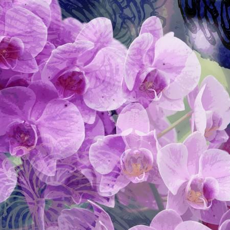 Purple Orchids Floral Digital Art