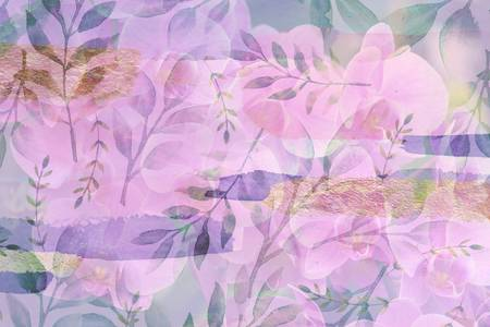 Soft Pink and Purple Botanical