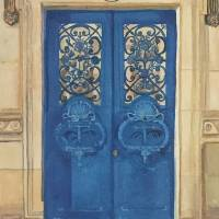 Blue_Door_at_Musee_du_Louvre Art Prints & Posters by Diana Nadal