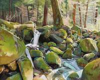 Original oil painting Creek rocks