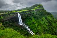 Gushing waters of the Madhe Ghat waterfalls