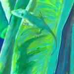 Green Anole Lizard on a Leaf by RD Riccoboni