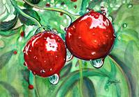 Red cherries in orchard watercolor vibrant colorfu