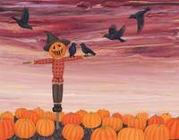 crows, scarecrow, and the pumpkin patch