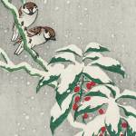Christmas Illustration Birds & Holly Prints & Posters