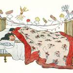 Christmas Illustration Children in Bed Prints & Posters