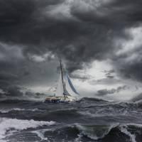 jl_boatinstorm Art Prints & Posters by John Lund