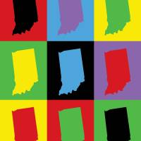 Indiana State Outline Pop Art Art Prints & Posters by Valerie Waters