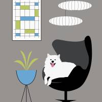 Black Egg chair with White Dog Art Prints & Posters by Donna Mibus