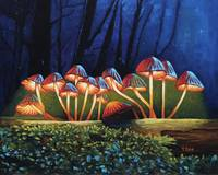 Original oil painting nightlight glowing mushroom