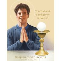 """""""Blessed Carlo Acutis, with His Eucharist Quote"""" by ChrisPelicano"""