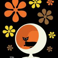 Ball Chair with Groovy flowers orange yellow brown Art Prints & Posters by Donna Mibus