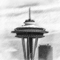Space Needle Sketched by Kirt Tisdale