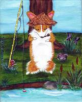 GONE FISHIN' ...PEMBROKE WELSH CORGI ART