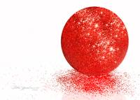 Red Glitter Ball White Background