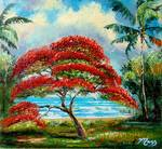 Royal Poinciana Tree by the Lake by Mazz Original Paintings
