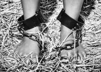 Ankles tied together with iron shackles #C9081