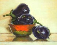 Eggplants in Orange Bowl