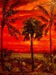 Fire Sky PalmTrees by Mazz Original Paintings
