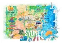 Sydney Australia Illustrated Map with Main Roads L