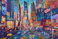 NYC Timeless Times Square with US Flag in Manhatta
