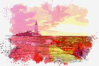 Lighthouse During Sunset, watercolor, ca 2020 by A