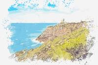 Lighthouse in the Mediterranean Coast, watercolor,