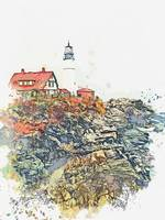 Lighthouse Near Portland, United States, watercolo