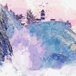 Lighthouse on the cliff, watercolor, ca 2020 by Ah Prints & Posters