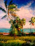 Palm Hammock On The Indian River Lagoon by Mazz Original Paintings