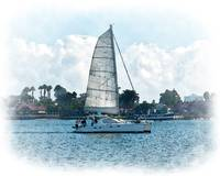 The Sailboat On San Diego Bay by Kirt Tisdale