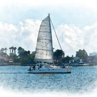 The Sailboat On San Diego Bay Art Prints & Posters by Kirt Tisdale
