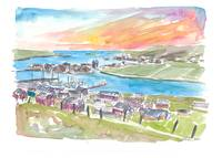Scalloway Shetland Bay and Town View in Afternoon