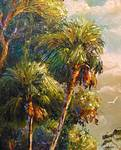 Cabbage Palm Tree Tops Palette knife Painting by Mazz Original Paintings