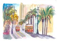 Street Cars in New Orleans Louisiana with Palms