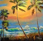 Sun Glow Beach Scene by Mazz Original Paintings