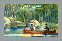 Bass Lake CA Travel Poster Canoeing Fishing