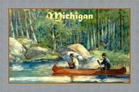 Michigan fishing Travel Poster Canoeing Fishing