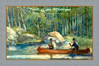 Torch Lake Michigan travel poster canoeing fishing