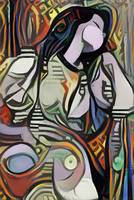 Sleeping Woman Picasso Style Wall Art Painting