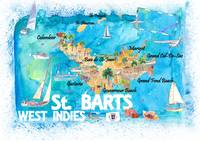 St Barts Antilles Illustrated Caribbean Travel Map