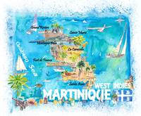 Martinique Antilles Illustrated Caribbean Travel M