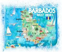Barbados Antilles Illustrated Caribbean Travel Map